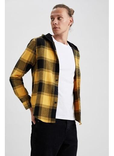 DeFacto Slim Fit Uzun Kollu Kapüşonlu Ekose Gömlek Sarı